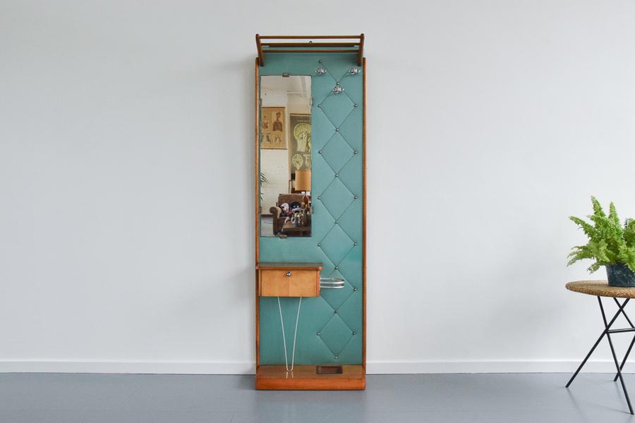 Vintage Large 1950s Teak Framed Hall Stand With Mirror