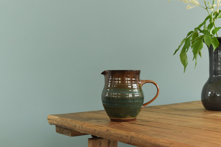 Vintage Small Studio Pottery Green And Brown Glazed Ceramic Jug By Campden Pottery