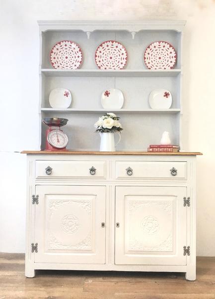 Old Charm Farmhouse, Country Kitchen, Welsh Dresser,Kitchen Storage, Grey Furniture, Kitchen Cabinet, Storage, Kitchen Shelving,