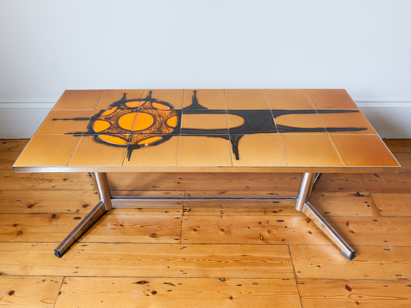 Tiled Top And Chrome Coffee Table