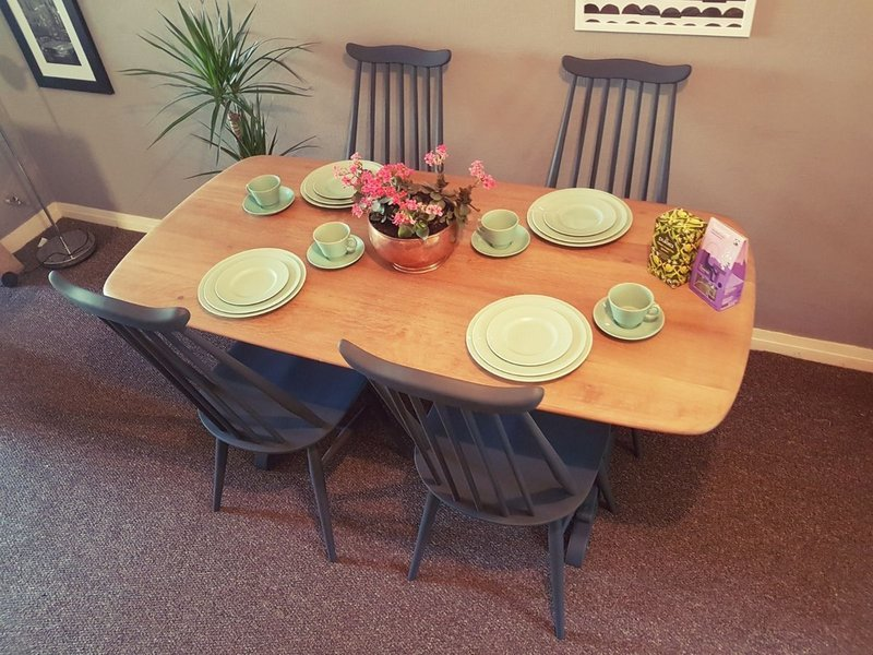 Ercol Refectory Dining Table & 4 Ercol Goldsmith Dining Chairs Mid Century Vintage