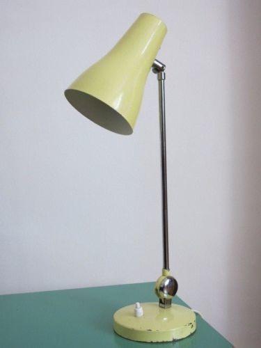 Vintage Retro Mid Century Pale Yellow Adjustable Desk Lamp