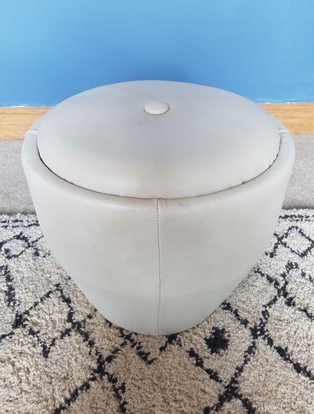 Retro Light Grey Vinyl Stool Pouffe Footstool Seat Vintage Mcm Mid Century 60s