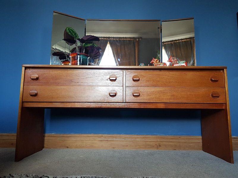 Mid Century Stag Teak Dressing Table Triple Mirror 4 Drawer Retro Vintage Mcm