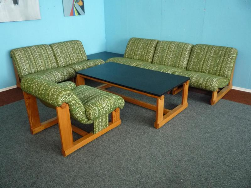 Vintage Spruce Living Room Set With 2 Coffee Tables, 1960s