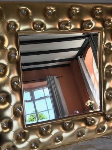 1 Large Stunning Gilt Beveled Hotel Mirror Crystals Style Wall Hanging