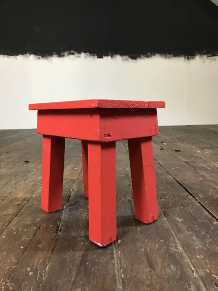 Super Vtg Rustic Antique Handmade Painted Red Wooden Cracket Milking Stool Footstool Pabps2019 Chair Design Images Pabps2019Com