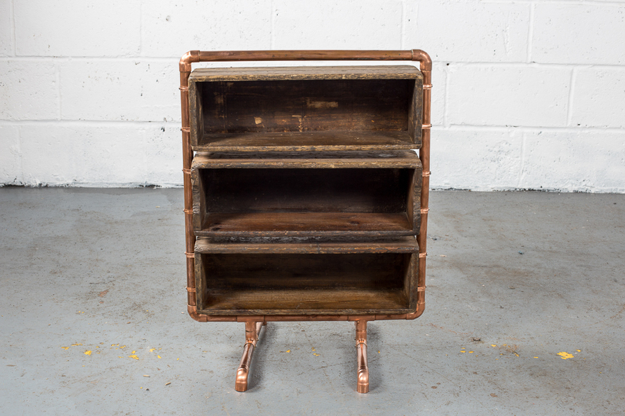 Upcycled Industrial Wooden Shelves With Copper Piping