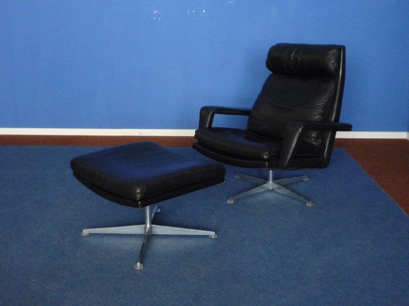 large mid century leather armchair stool by hans kaufeld 0