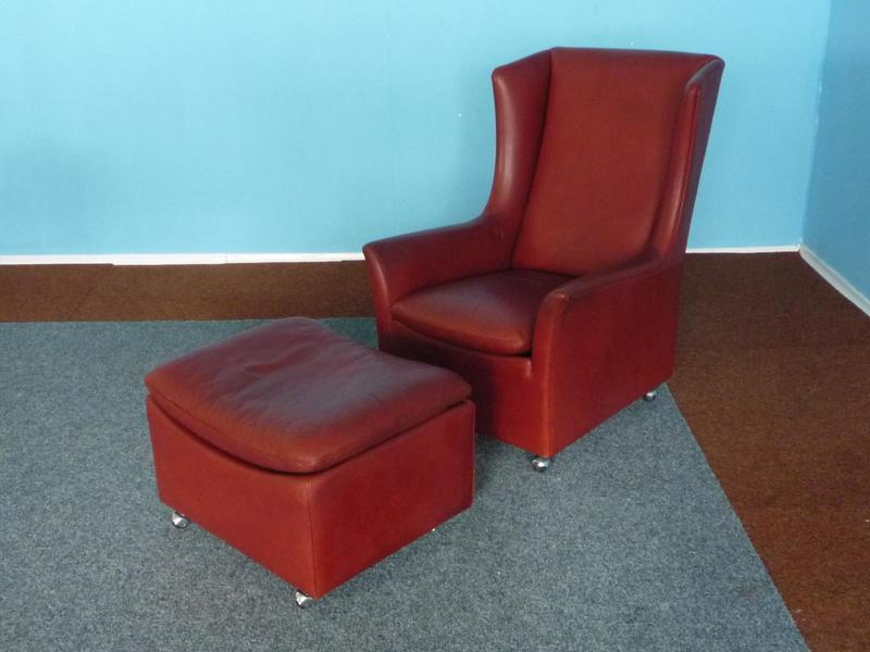 Leather Wingback Chair With Ottoman By Kill International, 1970s