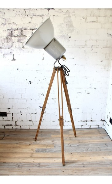 Old Industrial Lamp On Tripod