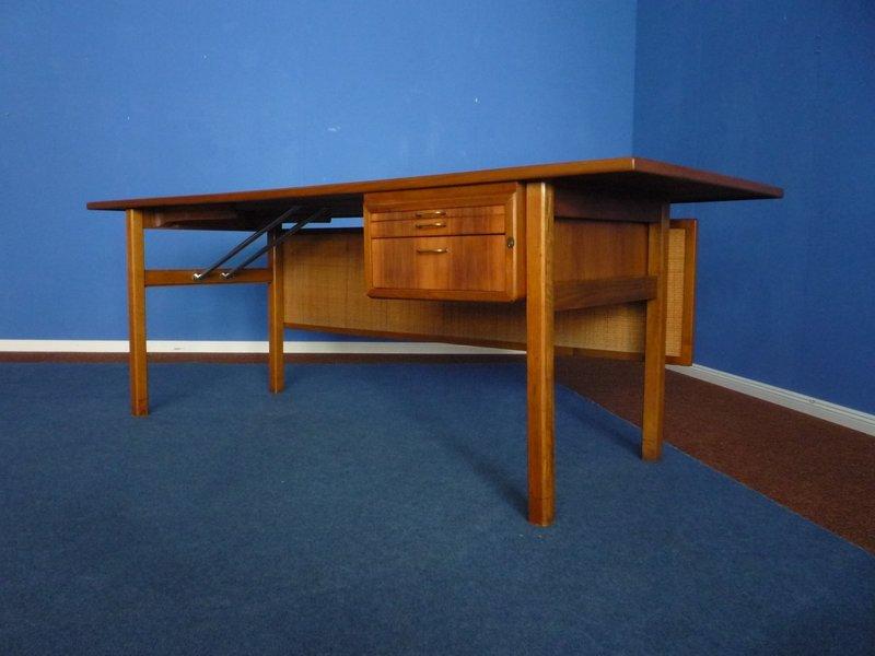 Mid Century Walnut Desk With Braided Back Panel, 1950s