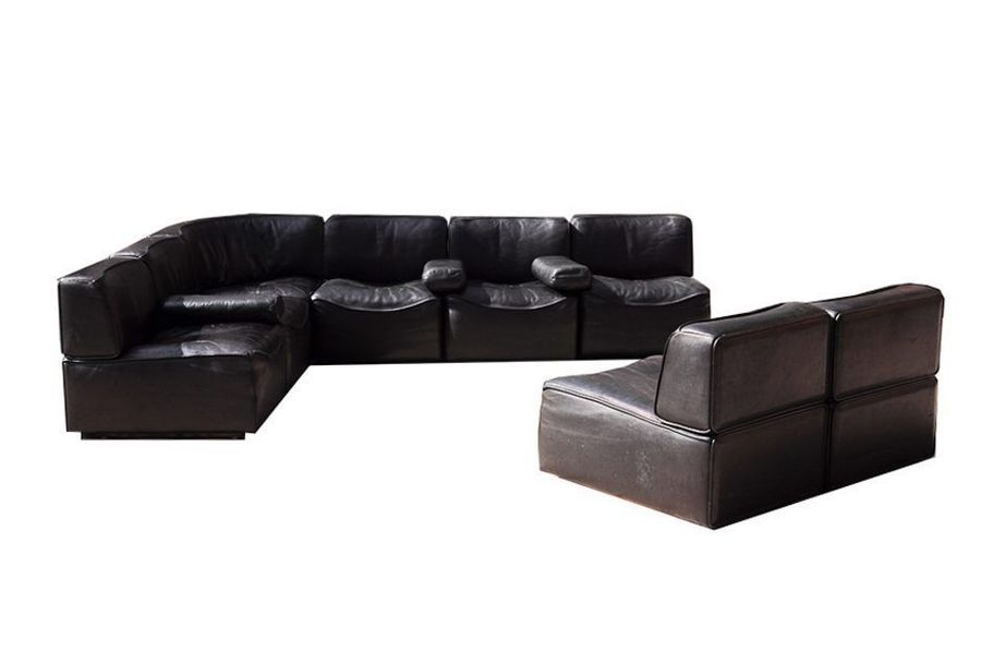 Model Ds15 Large Modular Black Leather Sofa From De Sede, 1970s