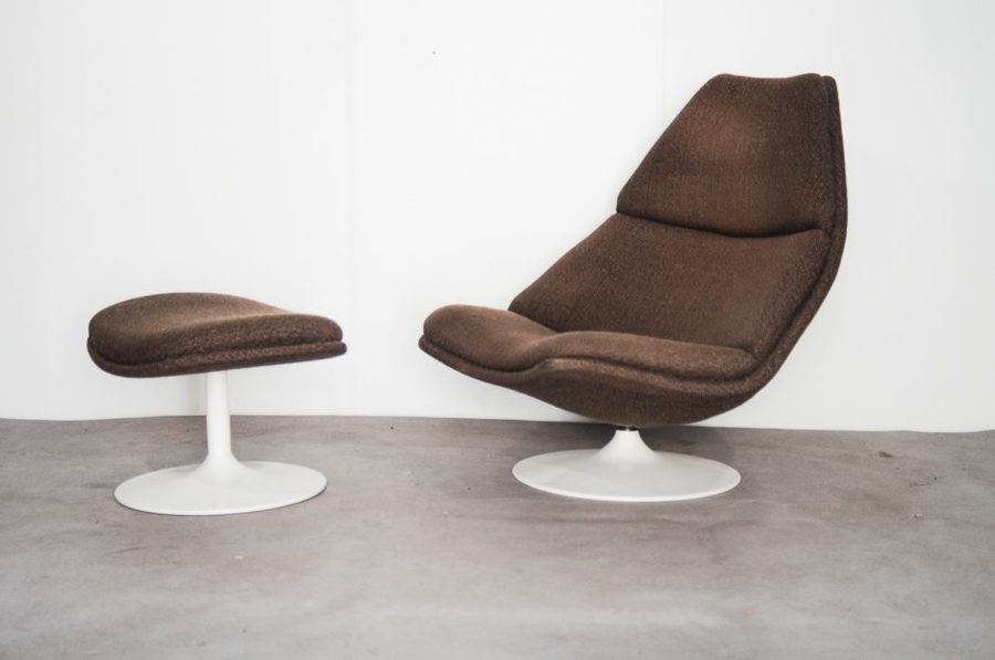 Model F584 Swivel Chair With Ottoman By Geoffrey Harcourt For Artifort, 1967