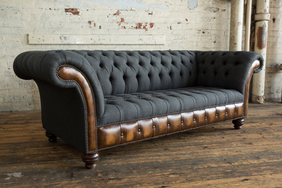 Antique Chesterfield. Recovered Reworked Grey Herringbone Wool And Antique Brown Leather Sofa.