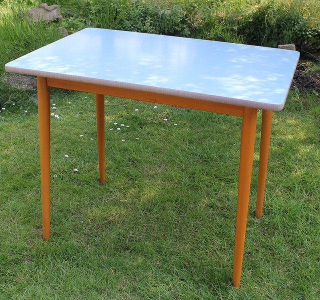 Retro Formica Table, 4 Seater, 1960s, Baby Blue