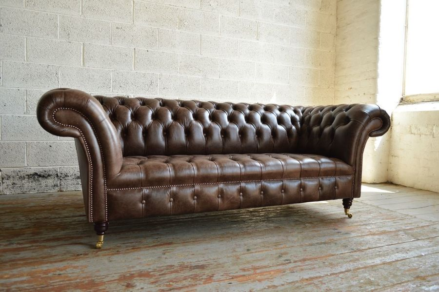 Antique Chesterfield. Recovered Reworked Antique Brown Leather Sofa. 3 Seater.