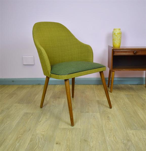 Mid Century Retro Vintage Danish Green Wool & Beech Lounge Side Chair 1950s 60s