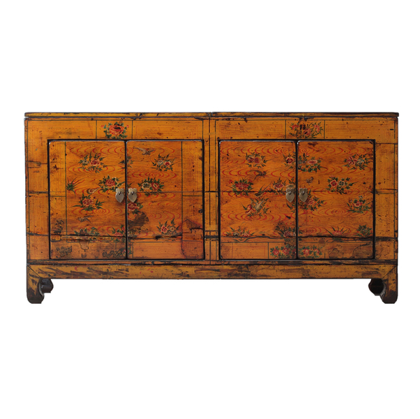 Yellow Vintage Chinese Sideboard From Dongbei