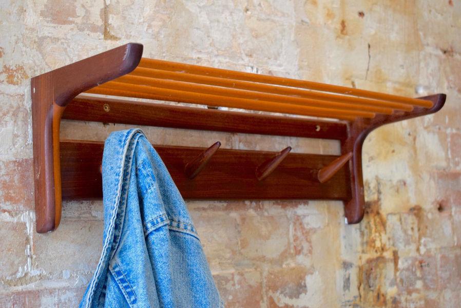 Vintage Mid Century Wall Rack & Coat Hook Hat Shelf Hallway Storage