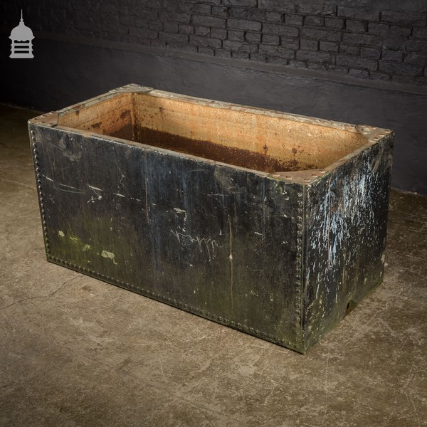 Large Riveted Galvanised Trough Planter With Distressed Black Paint