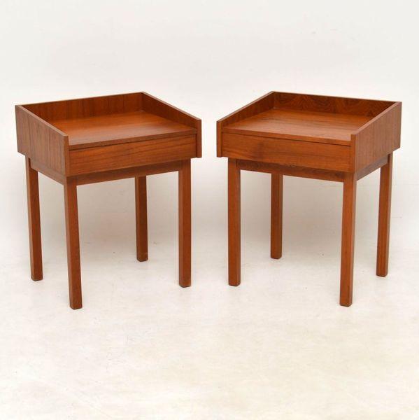 1960's Pair Of Swedish Teak Vintage Bedside Tables