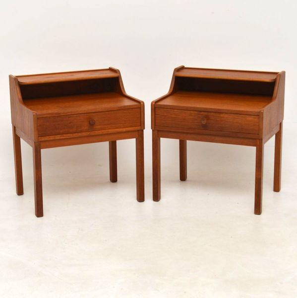 1960's Pair Of Vintage Swedish Teak Bedside Tables