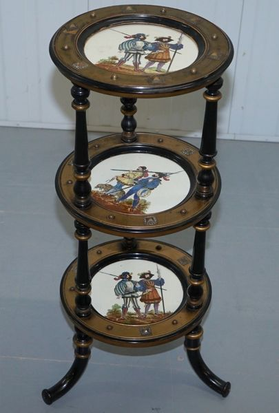 Early 19 Th Century Aesthetic Movement 3 Tired Display Stand Hand Painted Plates