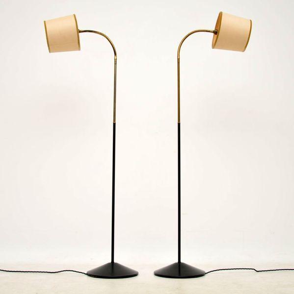 1950's Pair Of Vintage Brass & Iron Floor Lamps