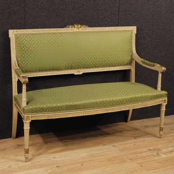 Lacquered And Gilded Italian Sofa In Louis Xvi Style