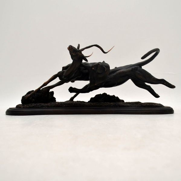 Tim Nicklin 1987 Polybronze Scultpture Of Lioness Hunting Antelope