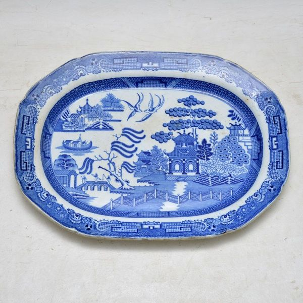 Antique 19 Th Century Blue Willow China Platter