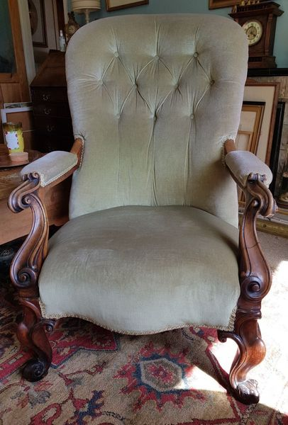 Beautiful Antique Buttonback, Scroll Legs And Arms Pale Green Velvet Armchair,