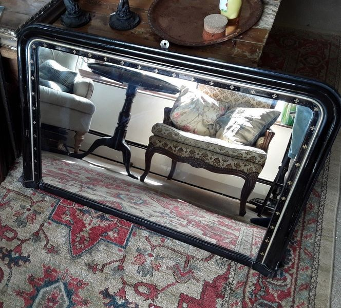 Aesthetic Movement Ebonised Overmantle Mirror With Gold Cross Detailing