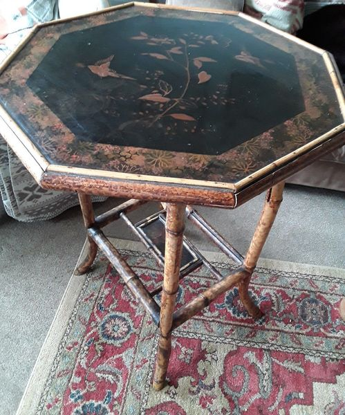 Antique Ebonised , Chinoisserie Topped Bamboo Table