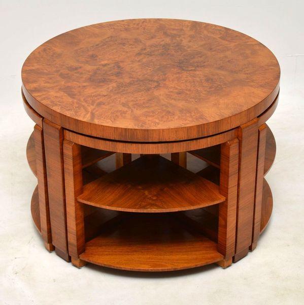 1920's Art Deco Burr Walnut Nesting Coffee Table