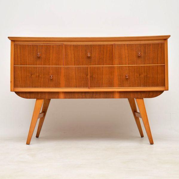1950's Vintage Walnut Concave Sideboard