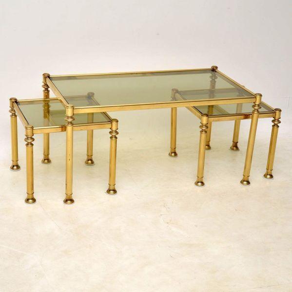1970's Brass & Glass Nesting Coffee Table