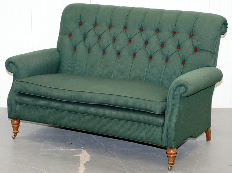 Wellington Model Howard Style Chesterfield Green Upholstery Two Seat Bench Sofa