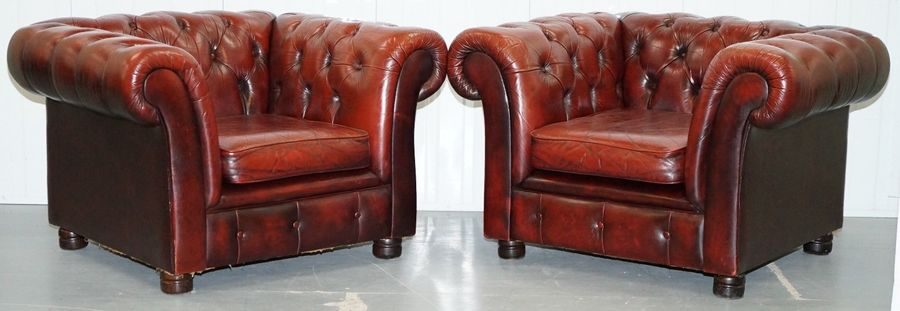 Pair Of Vintage Aged Brown Leather Chesterfield Club Armchairs Hand Dyed Finish