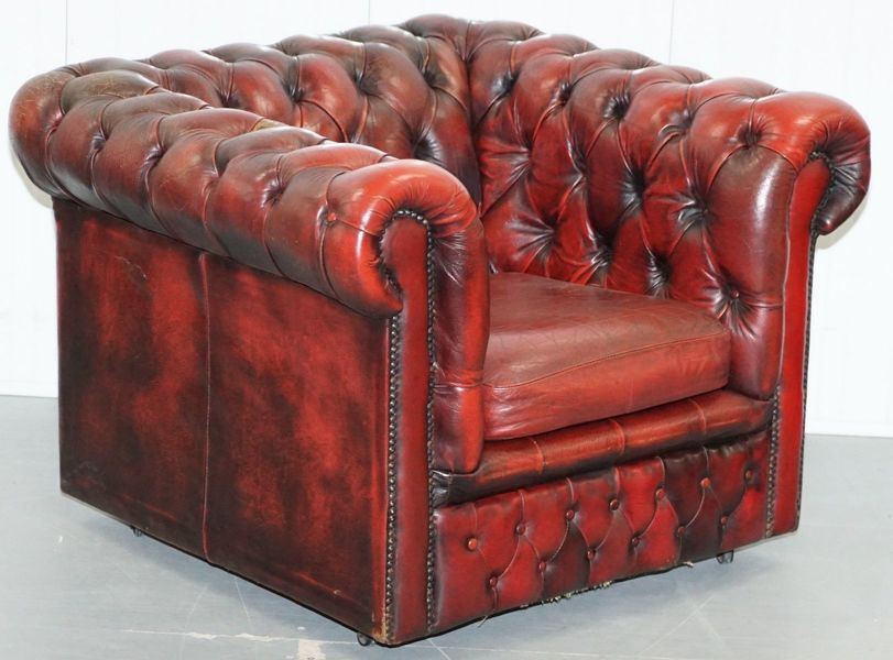 Vintage Mid Century Chesterfield Oxblood Leather Club Armchair Period Distressed