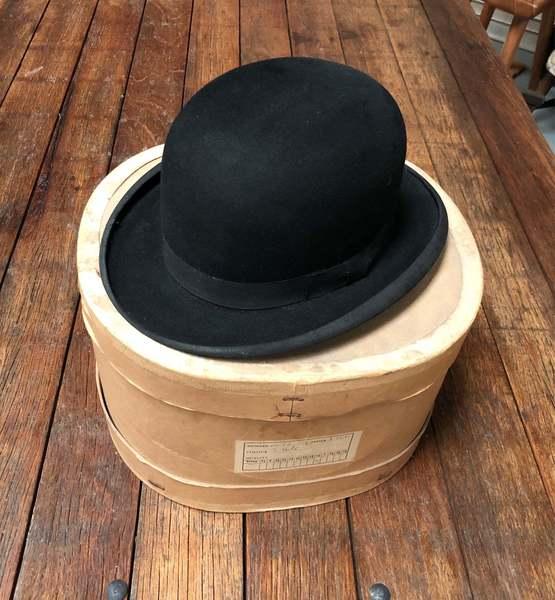 Bowler Hat, Black Felt With Hat Box