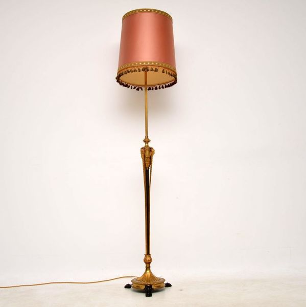 Antique French Gilt Metal Telescopic Standard Lamp