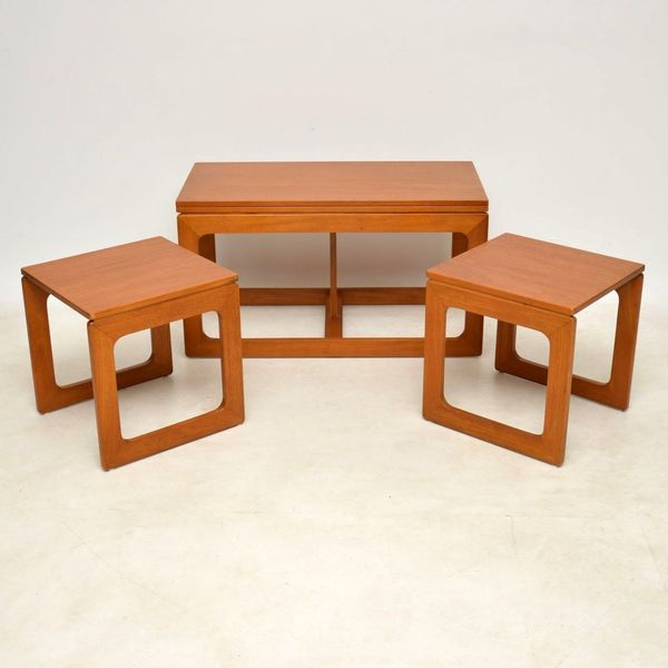 1960's Vintage Teak Nesting Coffee Table / Side Tables