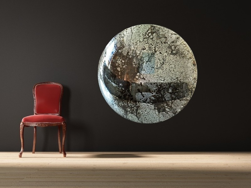 Celestial Original Handmade Convex Mirror In Antiqued Silver