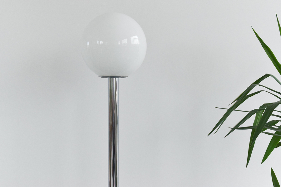 Vintage Chrome Standing Lamp With Spherical Globe Glass Shade By Durlston Designs Ltd
