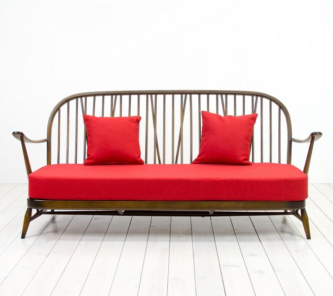 Red Windsor Three Seater Sofa From Ercol, 1950s