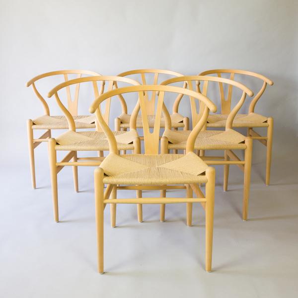 Hans Wegner Ch24 Wishbone Chairs, 6 Available