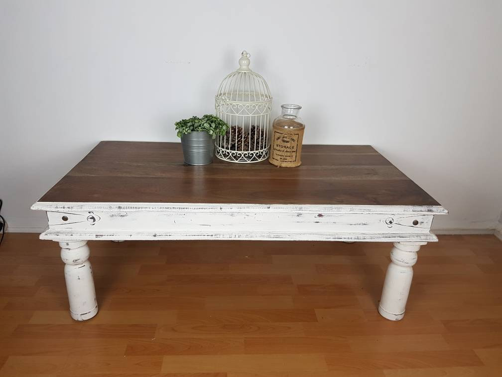 White Shabby Chic Distressed Coffee Table With Wooden Top Living Room Furniture