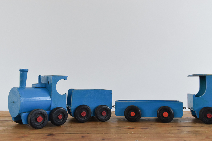 Vintage Handmade Blue Wooden Toy Train